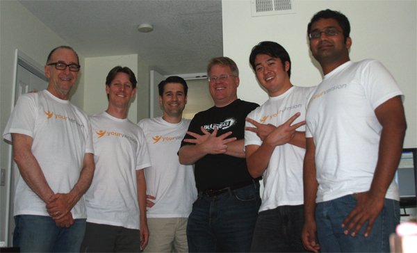 Robert Scoble and the YourVersion team (Left to right: Doug, Chris, Dan, Robert, Dave, Prathap)