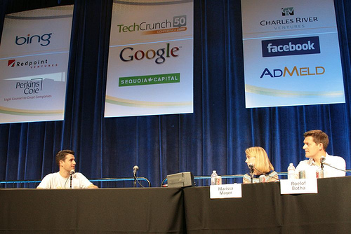 TechCrunch50 People's Choice Winner YourVersion - CEO Dan Olsen on stage with Panel of Experts